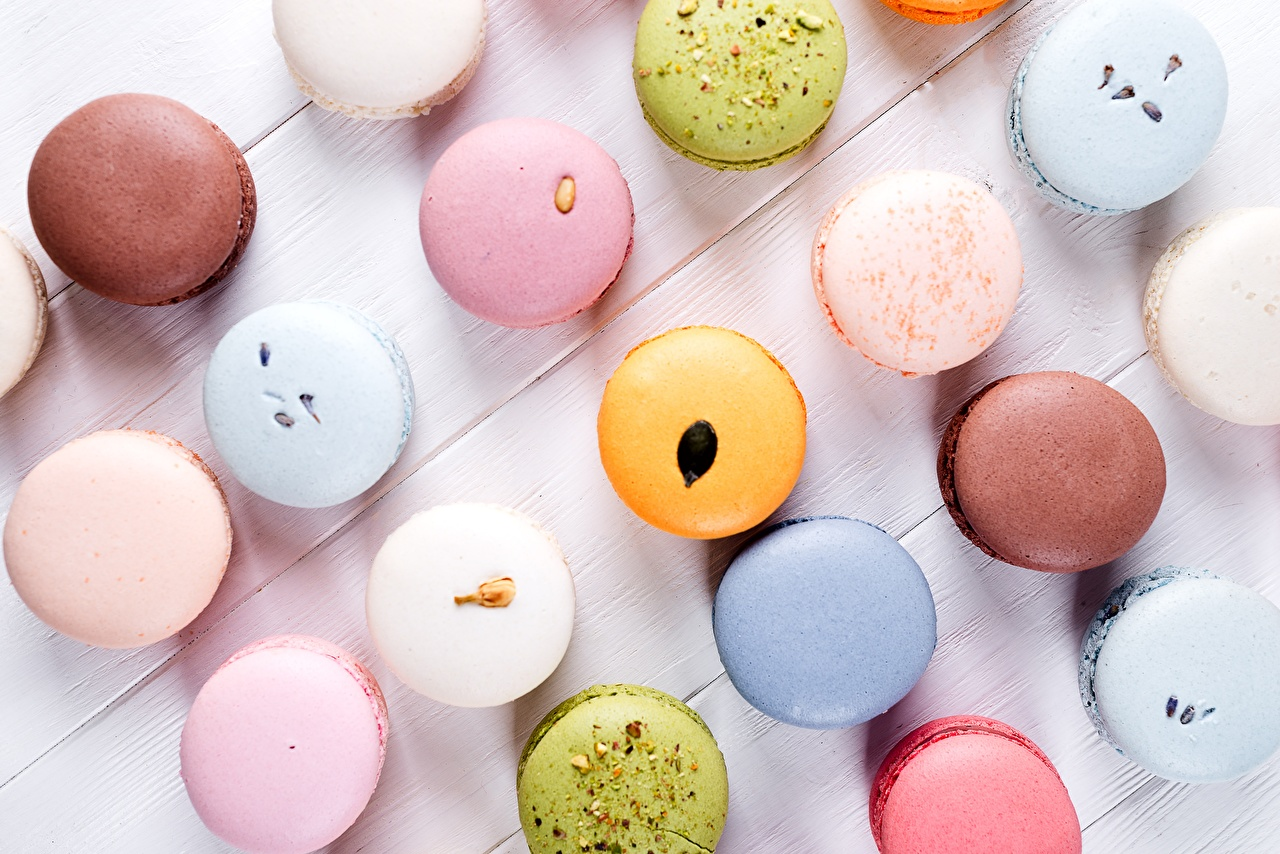 Bilder von macarons Bunte Kekse das Essen Macaron Mehrfarbige Lebensmittel
