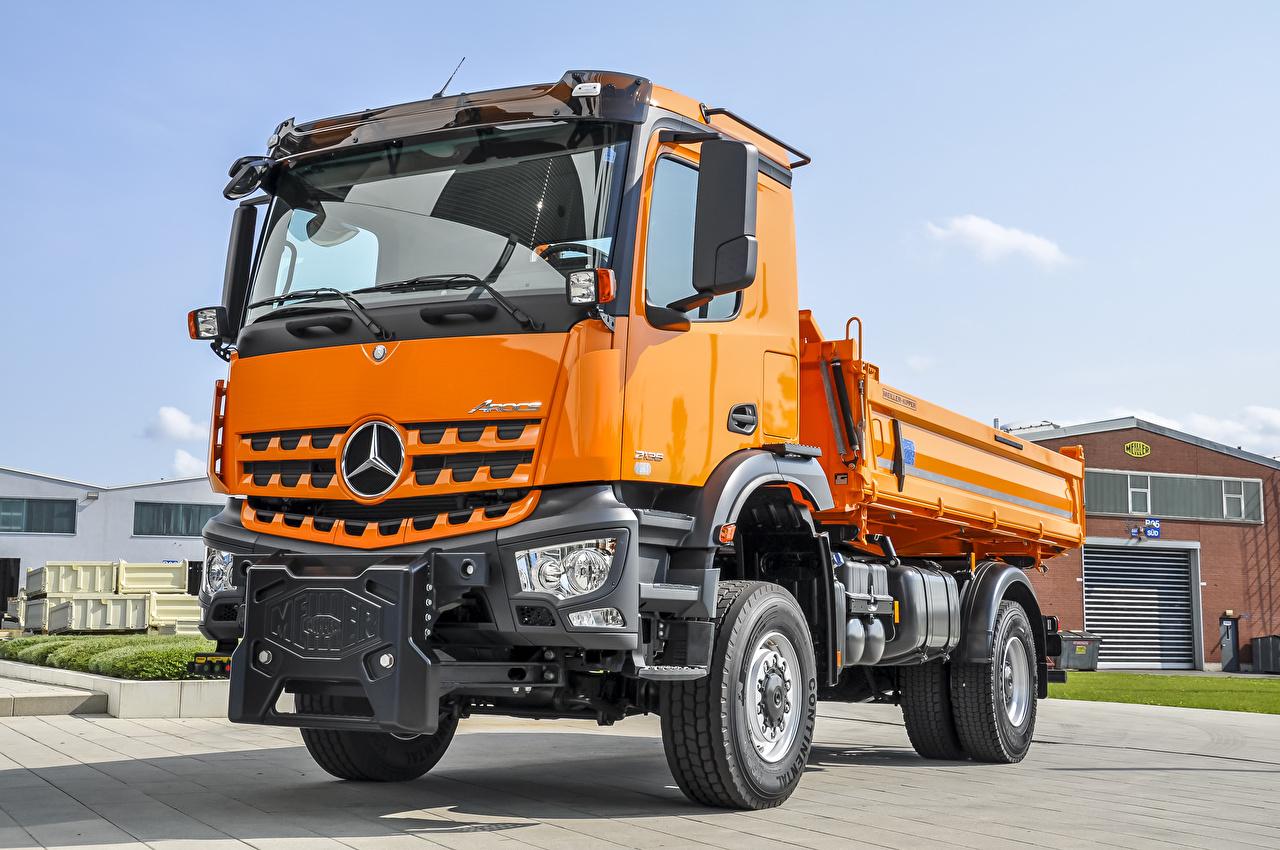 Image Trucks Mercedes-Benz 2013-20 Arocs 2135 AK Meiller Dreiseitenkipper Typ 9 Kommunalfahrzeug Orange auto lorry Cars automobile