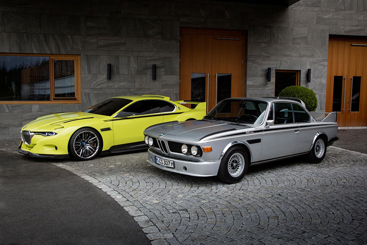 Wallpaper BMW 1968-75 E9 Two antique Cars 2 Retro vintage auto automobile