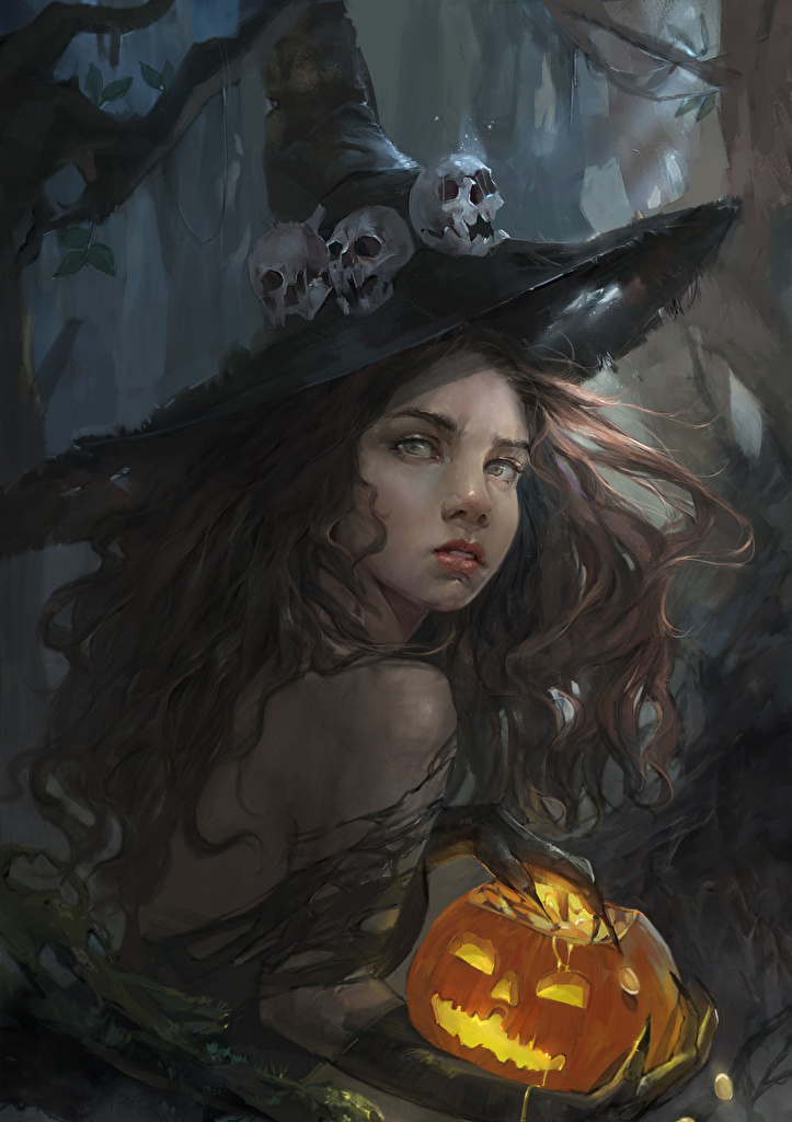 Image Witch Skulls Hat female Fantasy Pumpkin Halloween