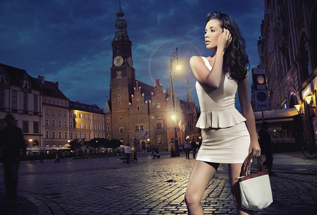 Pictures Cathedral Brunette girl Town square young woman purse Hands Night Street lights gown Girls female Handbag night time frock Dress