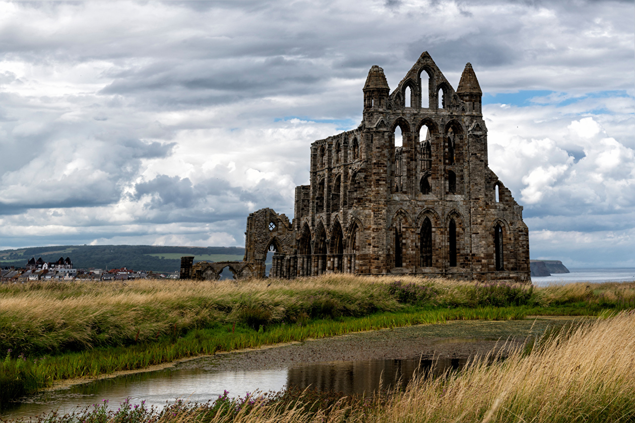 Photos Monastery England Whitby Abbey Nature Ruins Clouds