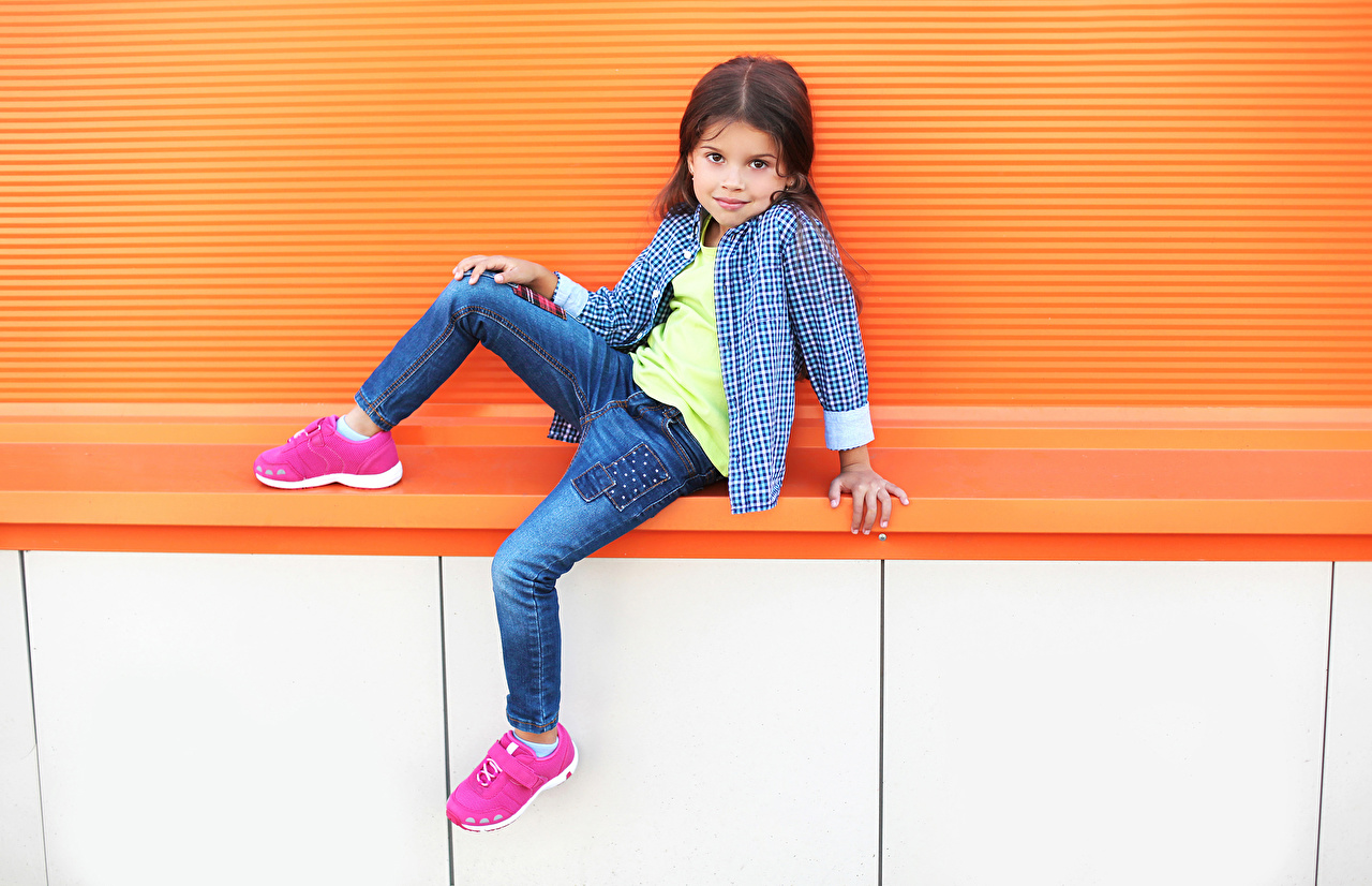 Image Little girls child Formal shirt Athletic shoe Jeans Children sneakers trainers