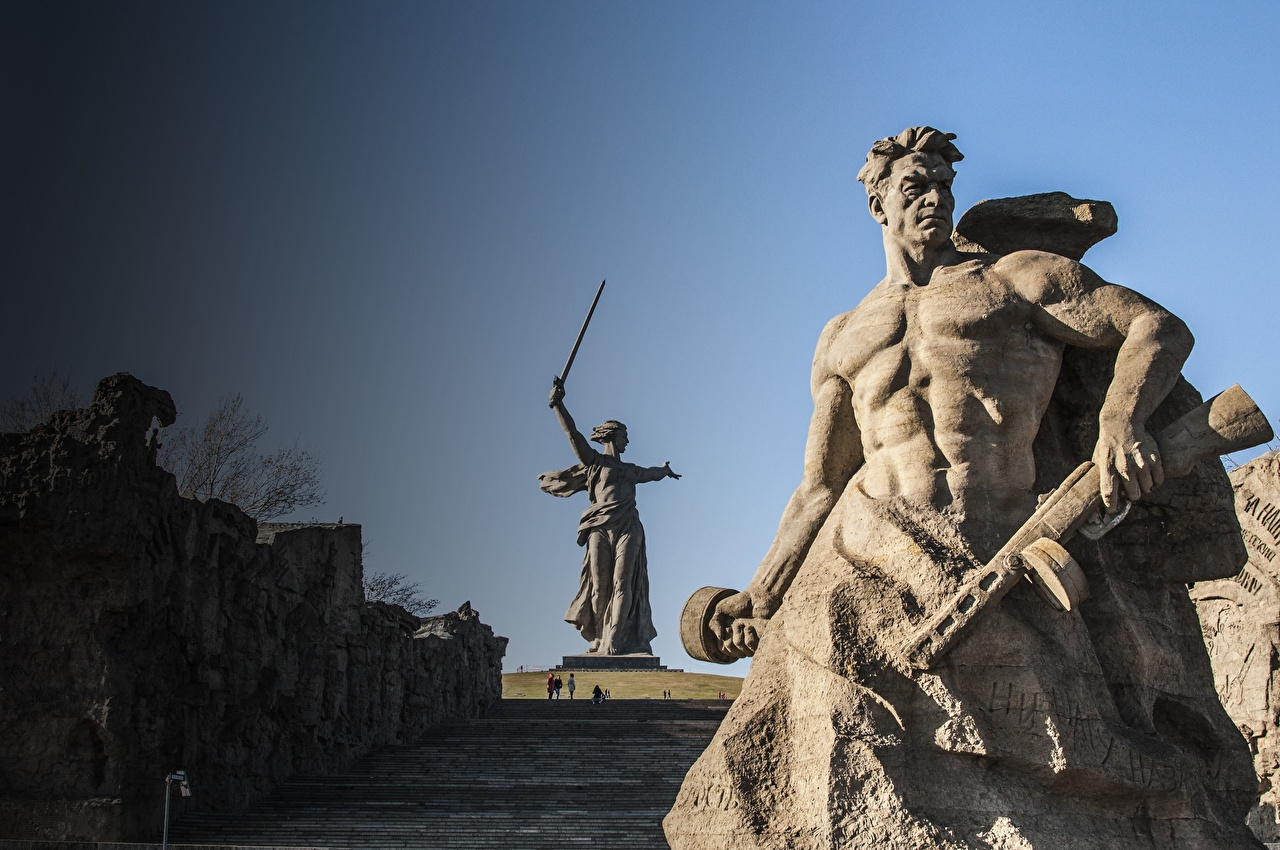 Bilder Wolgograd Mann Denkmal The Motherland Calls, Mamayev Kurgan Städte