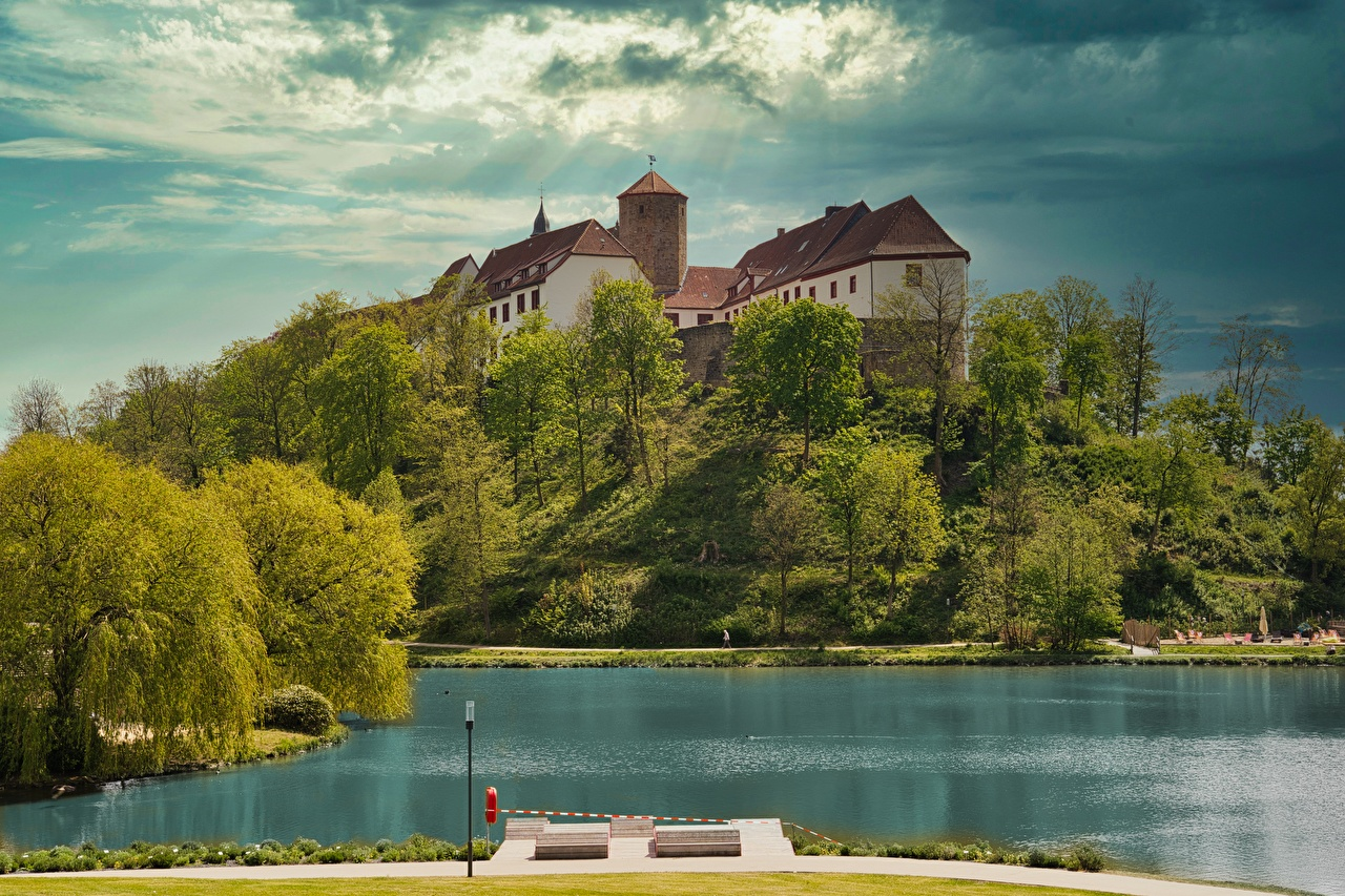Photo Germany Bad Iburg, lower Saxony, Osnabruck Castles Lake Hill Cities castle