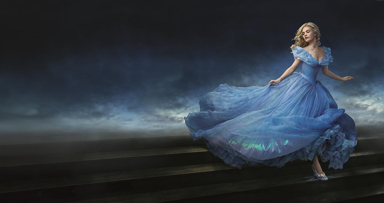 壁紙 シンデレラ 15年の映画 リリー ジェームズ ドレス 映画 少女 ダウンロード 写真