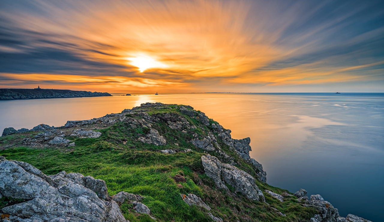 Fotos von Frankreich Brittany Meer Natur Himmel Morgendämmerung und Sonnenuntergang Küste Sonnenaufgänge und Sonnenuntergänge