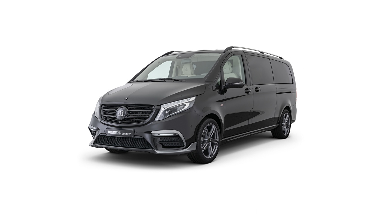 Pictures Mercedes-Benz Brabus W447, V-class Minivan Black auto Metallic White background Cars automobile