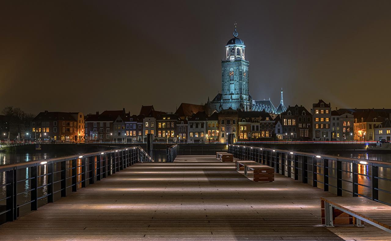 Pays-Bas Maison Ponts Deventer Nuit pont, Bâtiment Villes