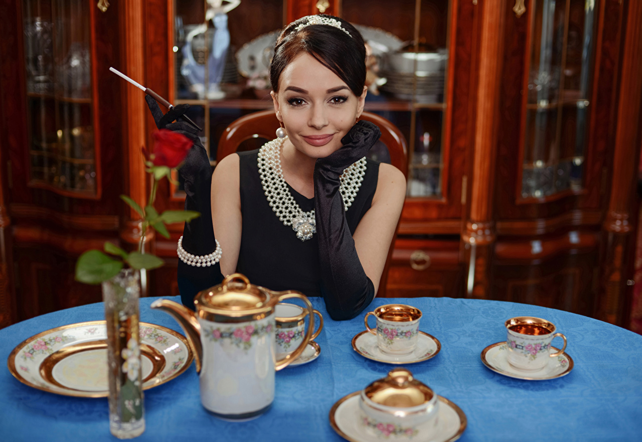 Photos young woman Necklace Smile Brown haired Staring Glove Table appointments Jewelry Girls female necklaces Glance