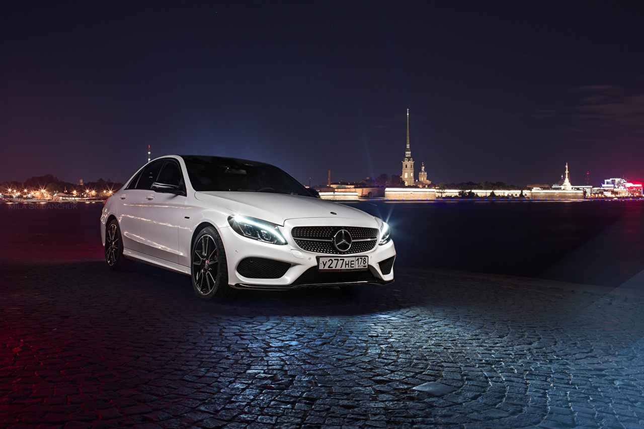 Image Mercedes-Benz c450 amg 43 White Night automobile auto Cars night time