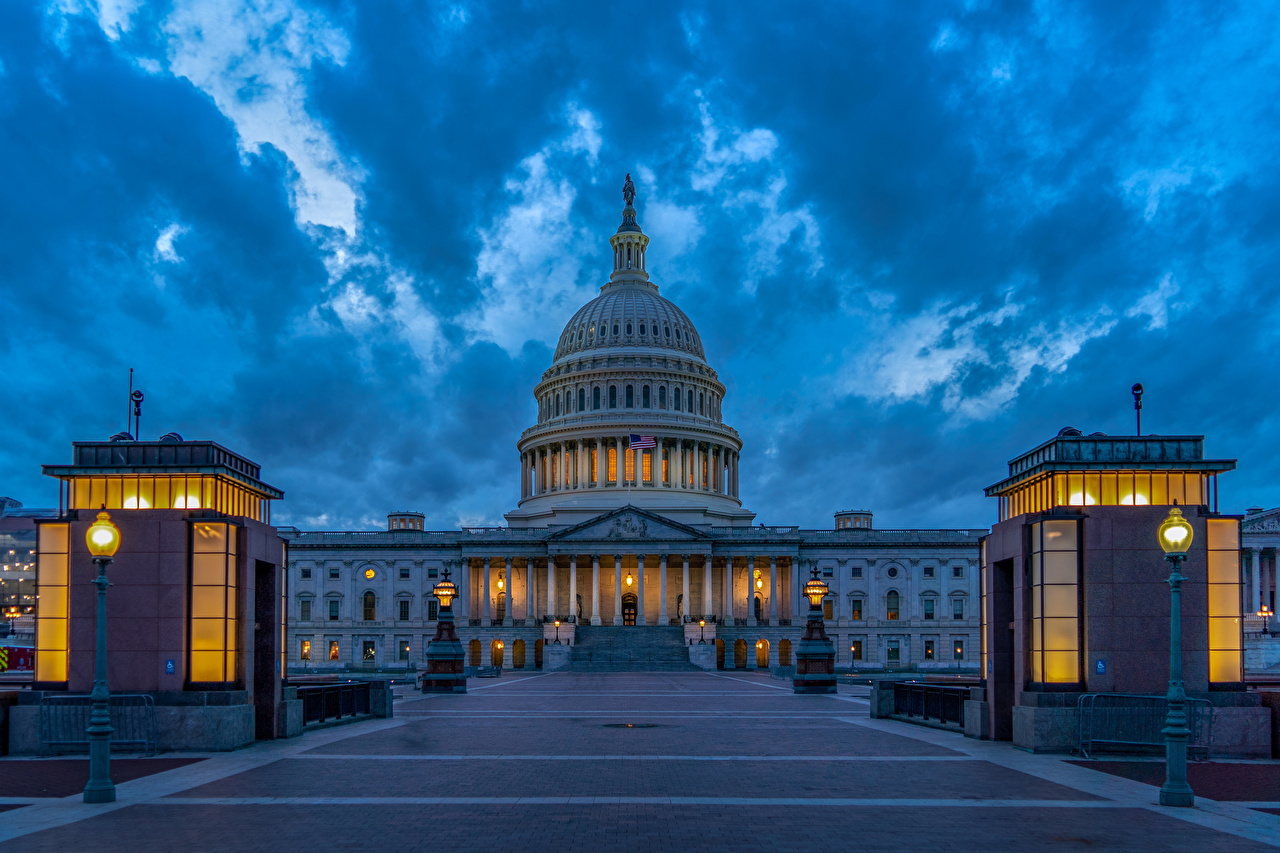 Images Washington USA United States Capitol Evening Street lights Houses Cities Sculptures Building