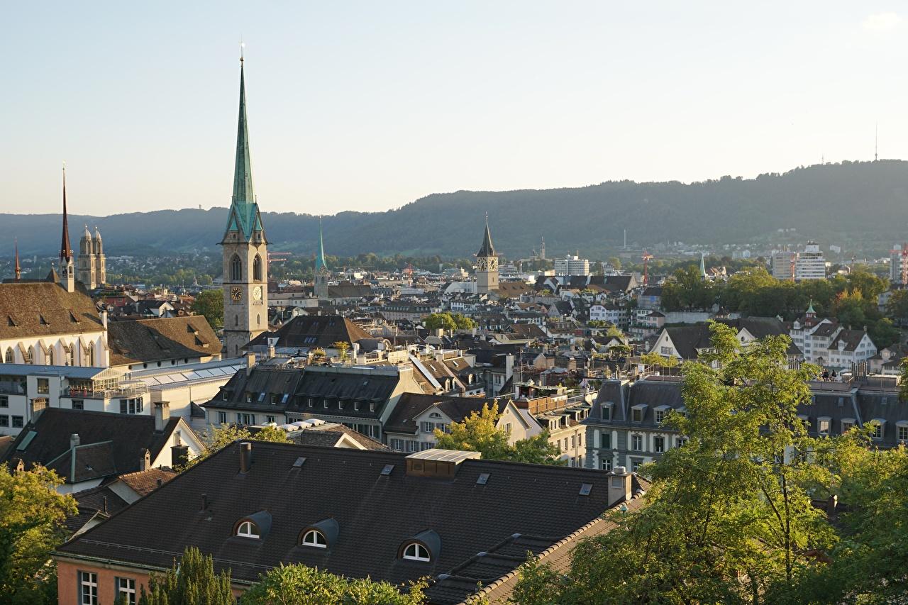 Обои швейцария, Switzerland, здания, крыши, Цюрих, дома. Города foto 10