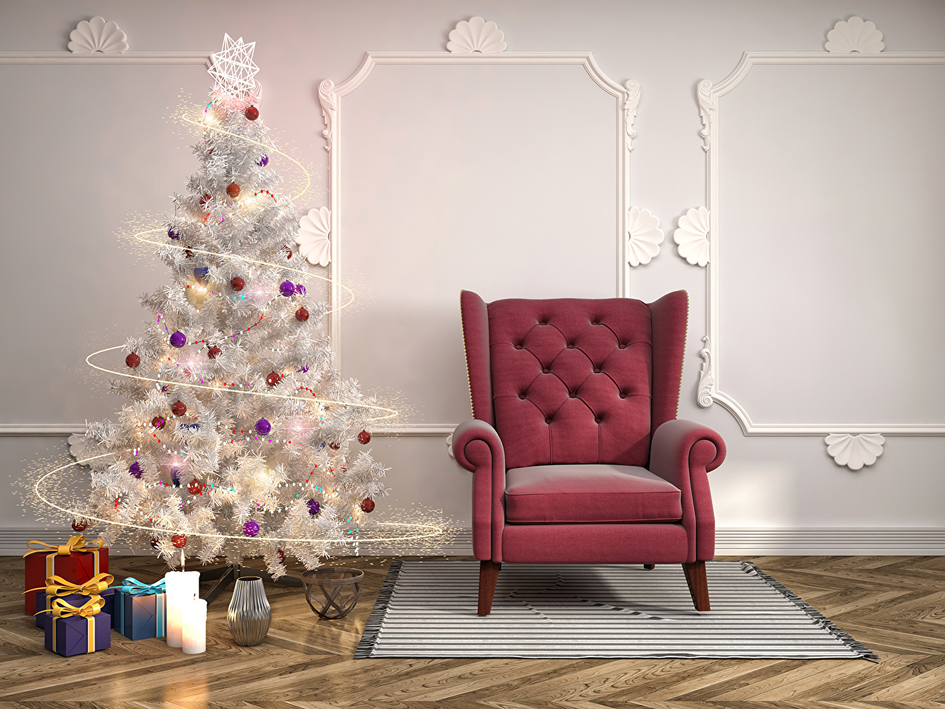 Desktop Wallpapers New year 3D Graphics Christmas tree Gifts Interior Wall Balls Wing chair Holidays Christmas New Year tree present walls Armchair