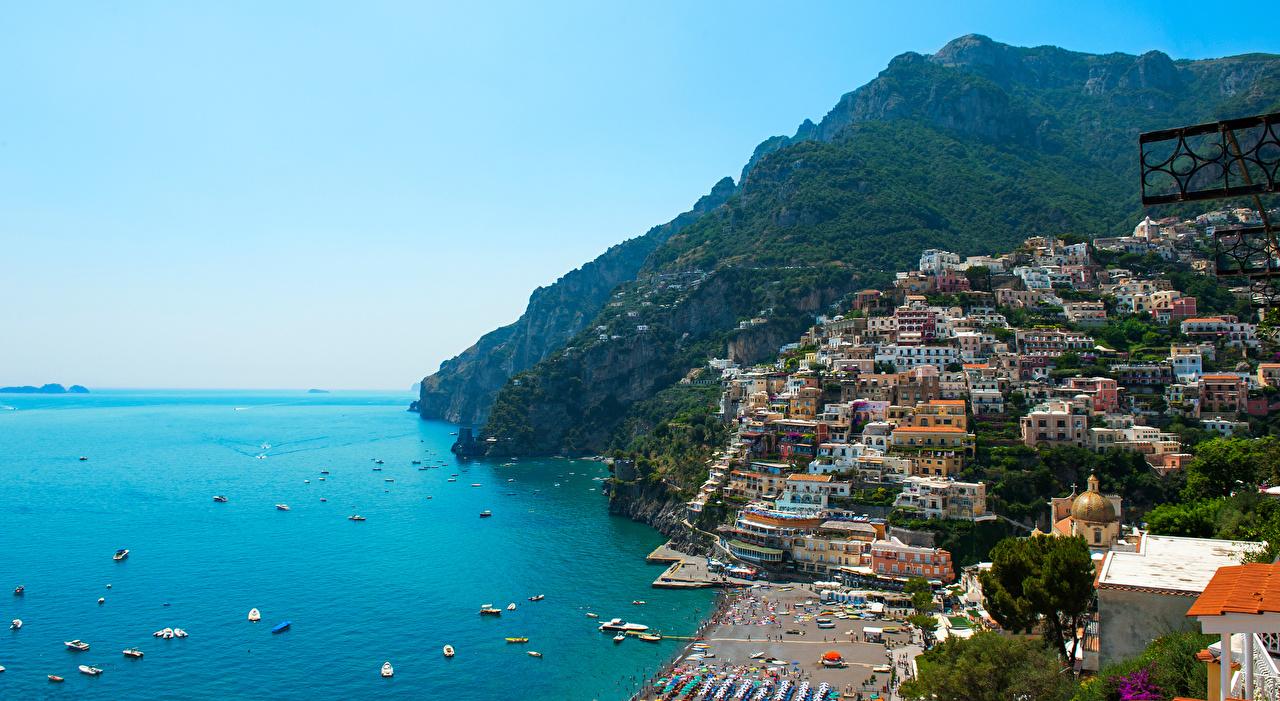 Photos Italy Positano Sea Nature Mountains Boats Building mountain Houses