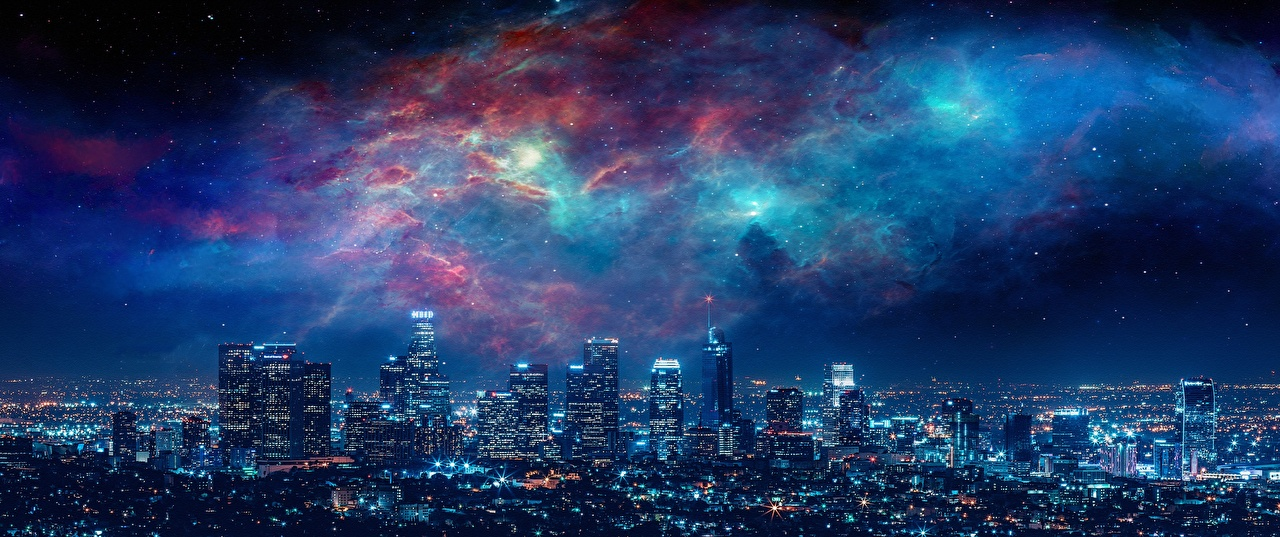 Wallpaper Los Angeles USA Megapolis Night Skyscrapers Cities Houses Megalopolis night time Building