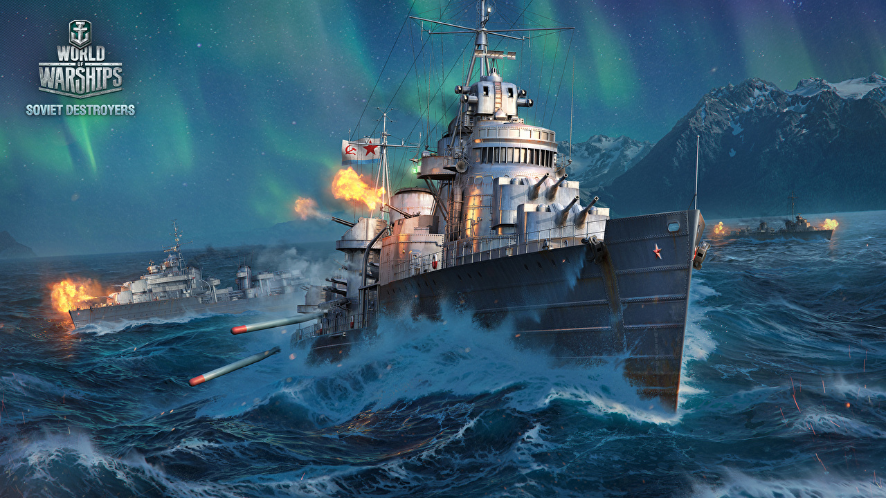 Wallpaper World Of Warship Soviet Destroyers ship vdeo game