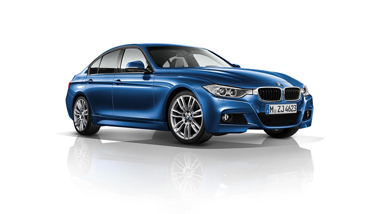 Photos BMW 3-Series F30 Sedan Blue automobile White background Cars auto