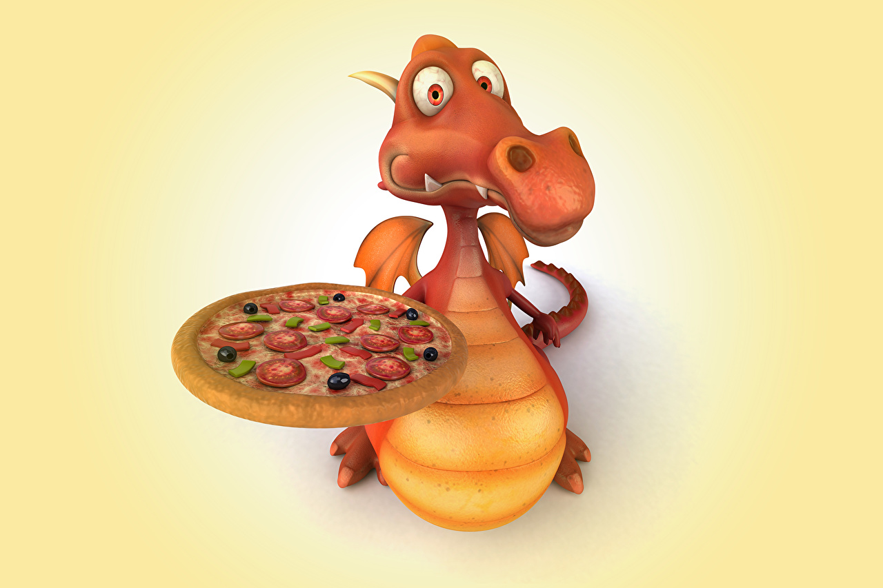 Pictures dragon Pizza 3D Graphics Animals Dragons animal