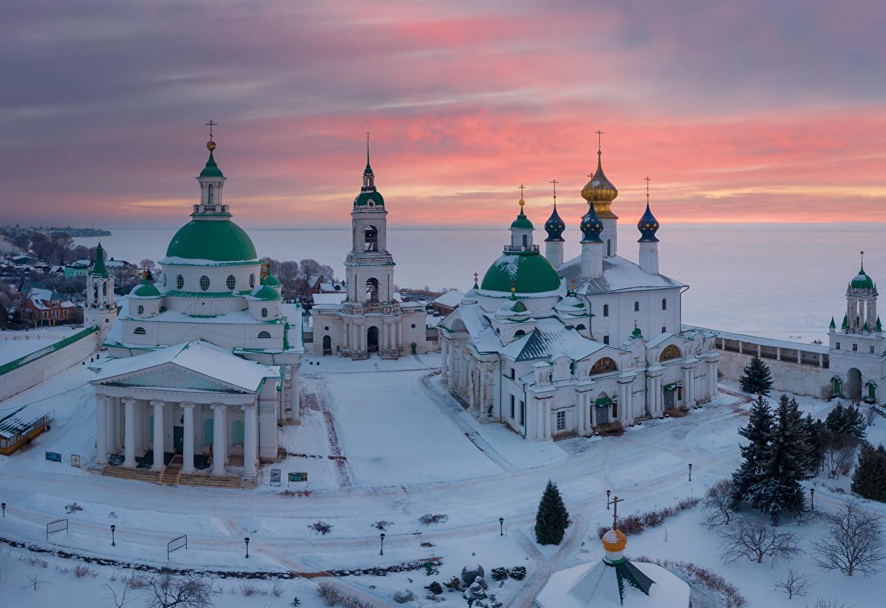 Tapeta na pulpit Klasztor Kościół Rosja Monastery of St. Jacob Saviour, Rostov Zima Śnieg Świątynia Miasta miasto
