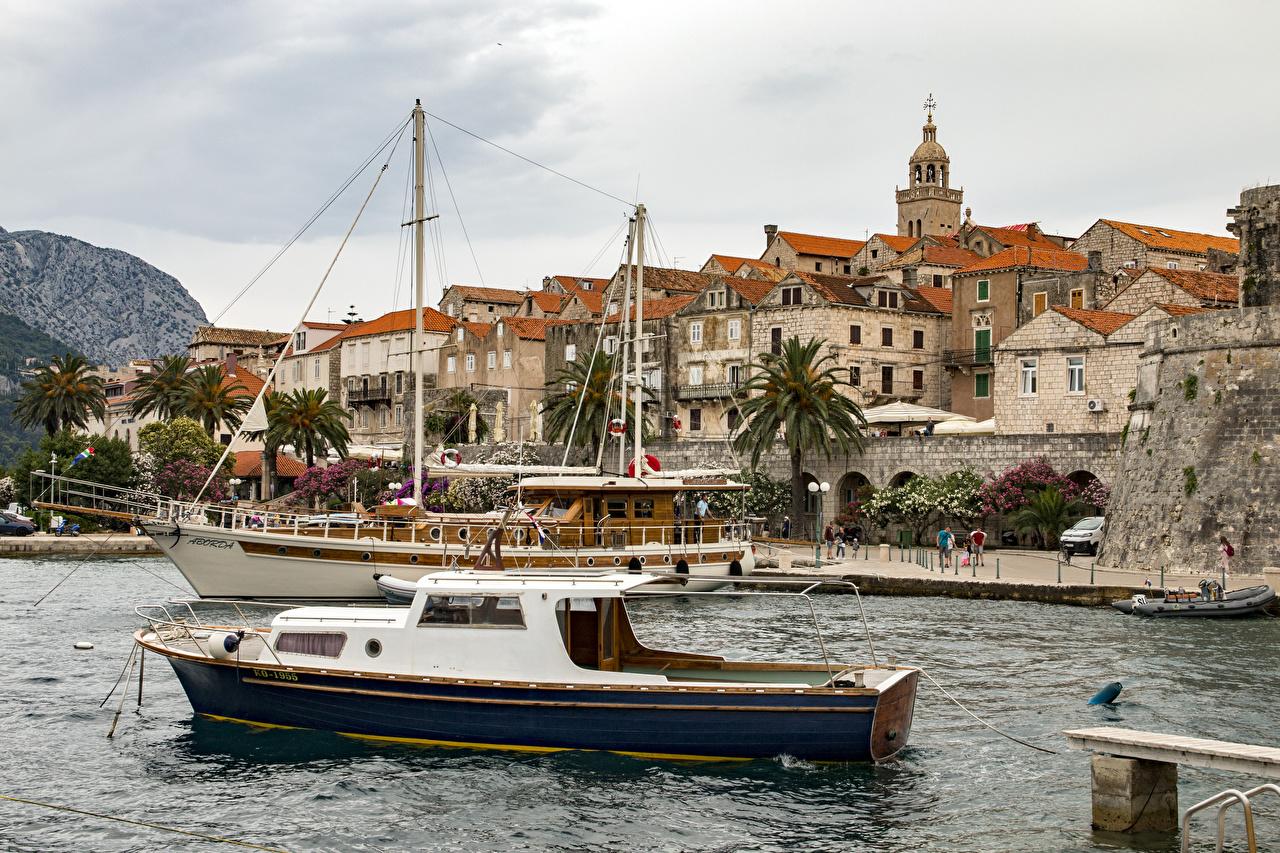 zdjęcia Chorwacja Statki rzeczne zatoki miasto budynki Zatoka Domy Miasta budynek