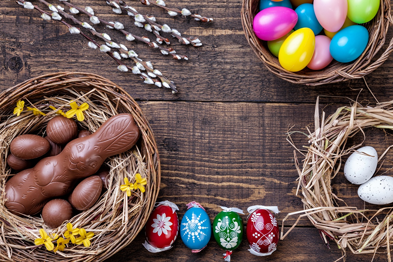 Picture Easter Hares Eggs Chocolate Nest Food egg