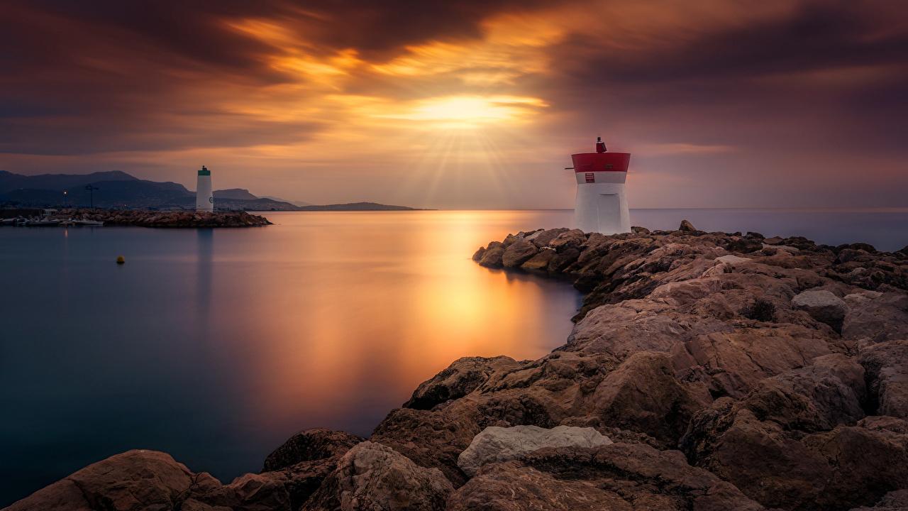 Bilder på skrivbordet fyrar Natur Soluppgångar och solnedgångar Kusten Stenar Fyr gryning och solnedgång