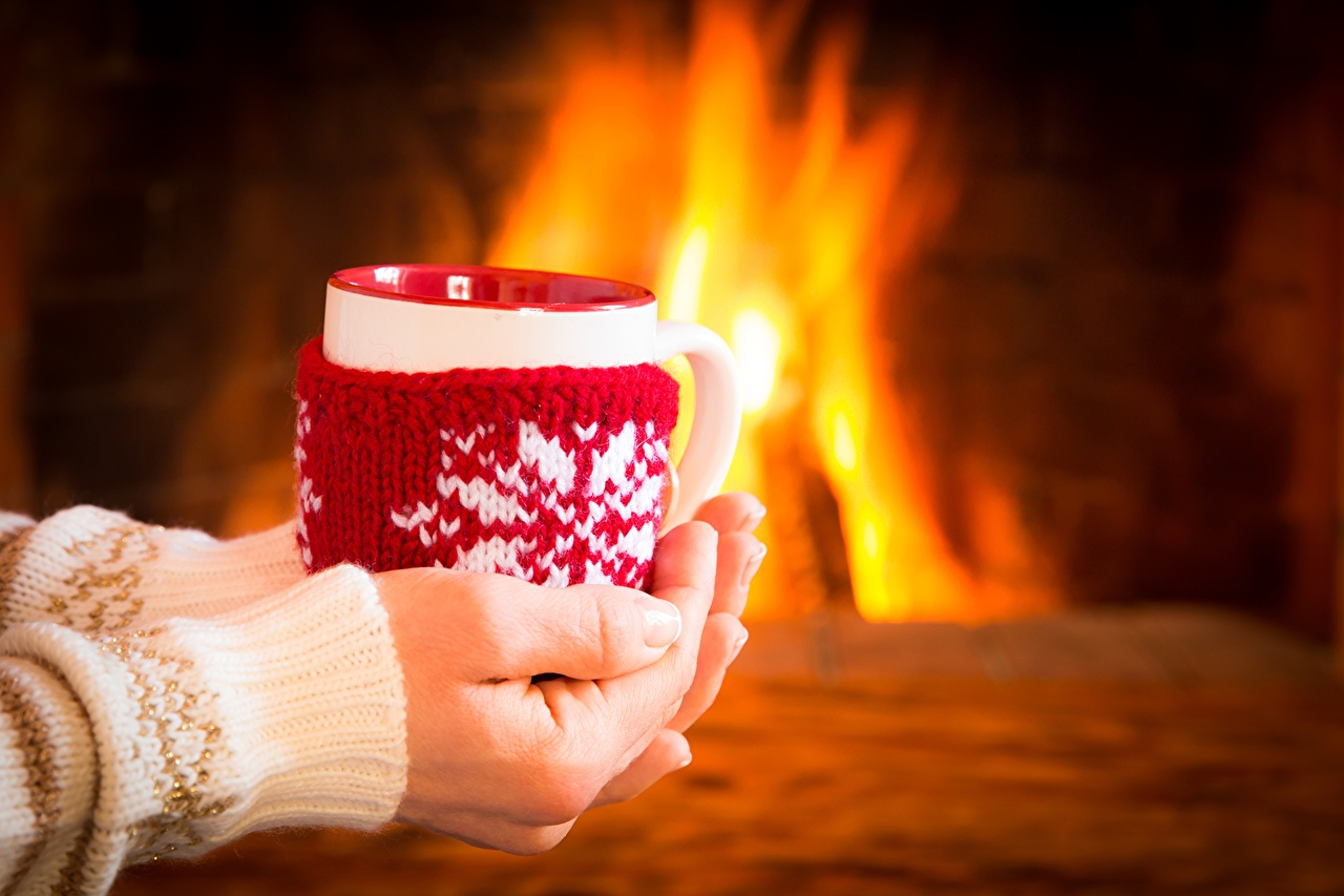 Pictures Fireplace Cup Hands