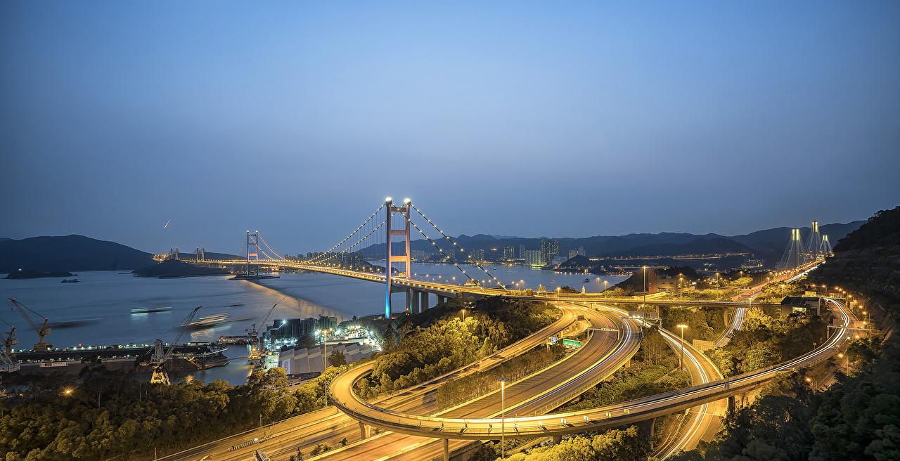 Bilder von Hongkong China Brücken Straße Bucht Nacht Lichterkette Schiffsanleger Straßenlaterne Städte Brücke Wege Bootssteg Seebrücke
