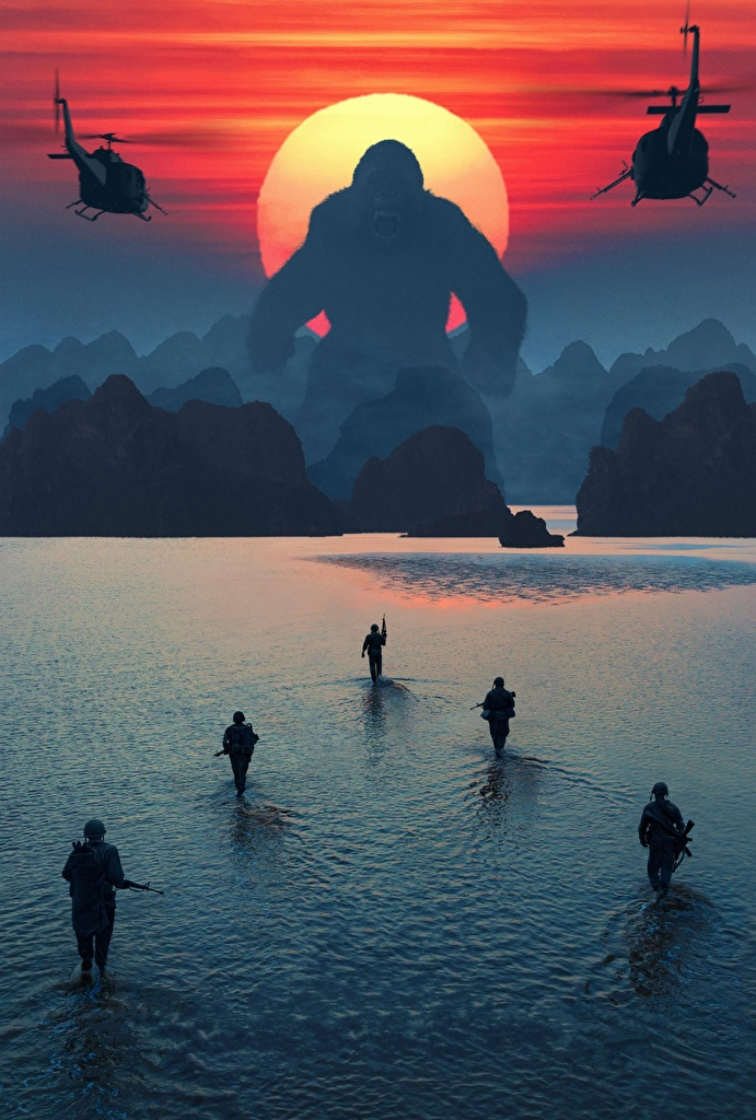 Wallpaper Movies Kong: Skull Island Monkeys Soldiers Landing operation sunrise and sunset Water  for Mobile phone film monkey soldier Sunrises and sunsets