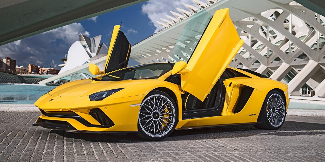 Pictures automobile Lamborghini Aventador Yellow Opened door Cars auto