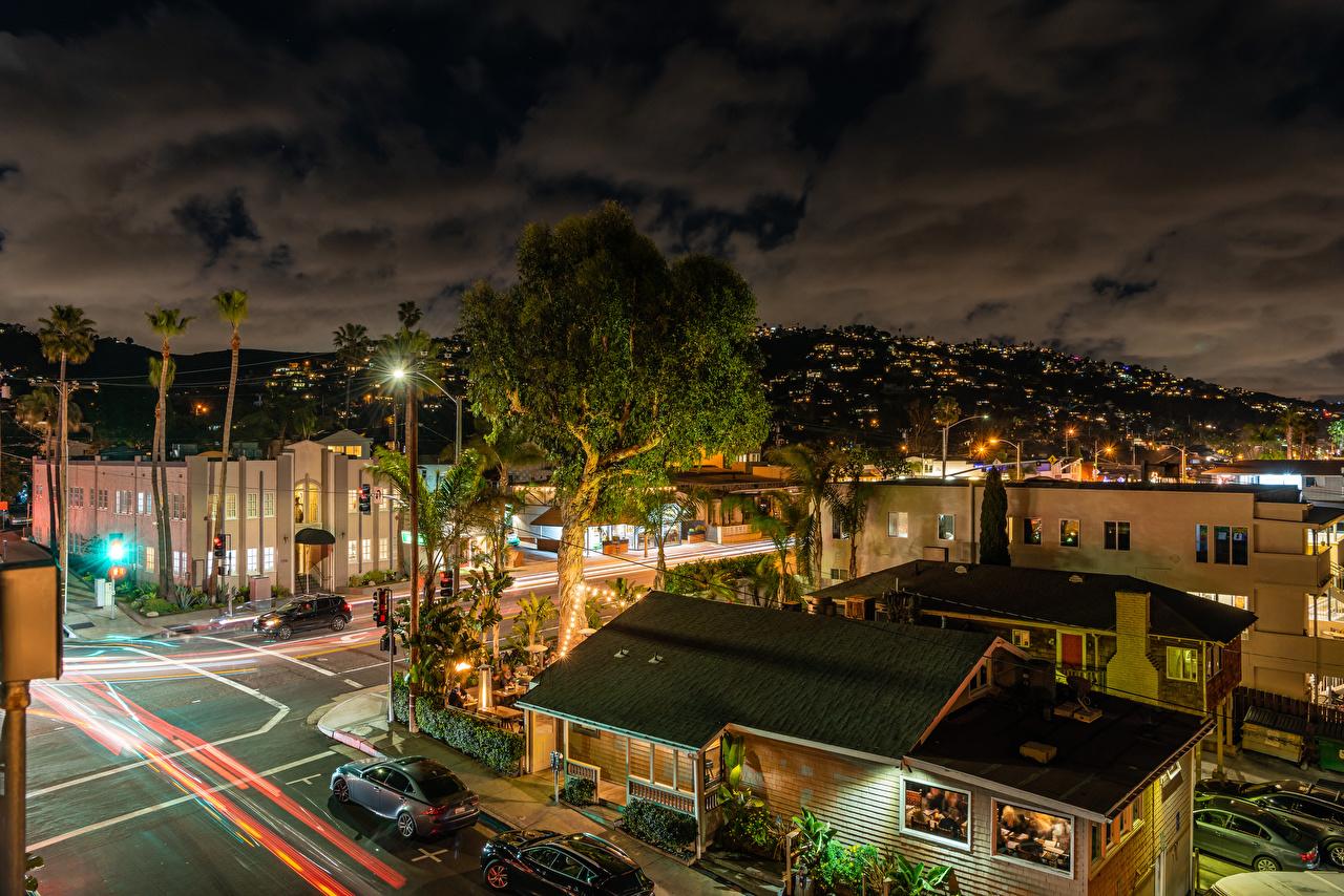 Desktop Wallpapers California USA Laguna Beach Roads Evening Street lights Cities Houses Building
