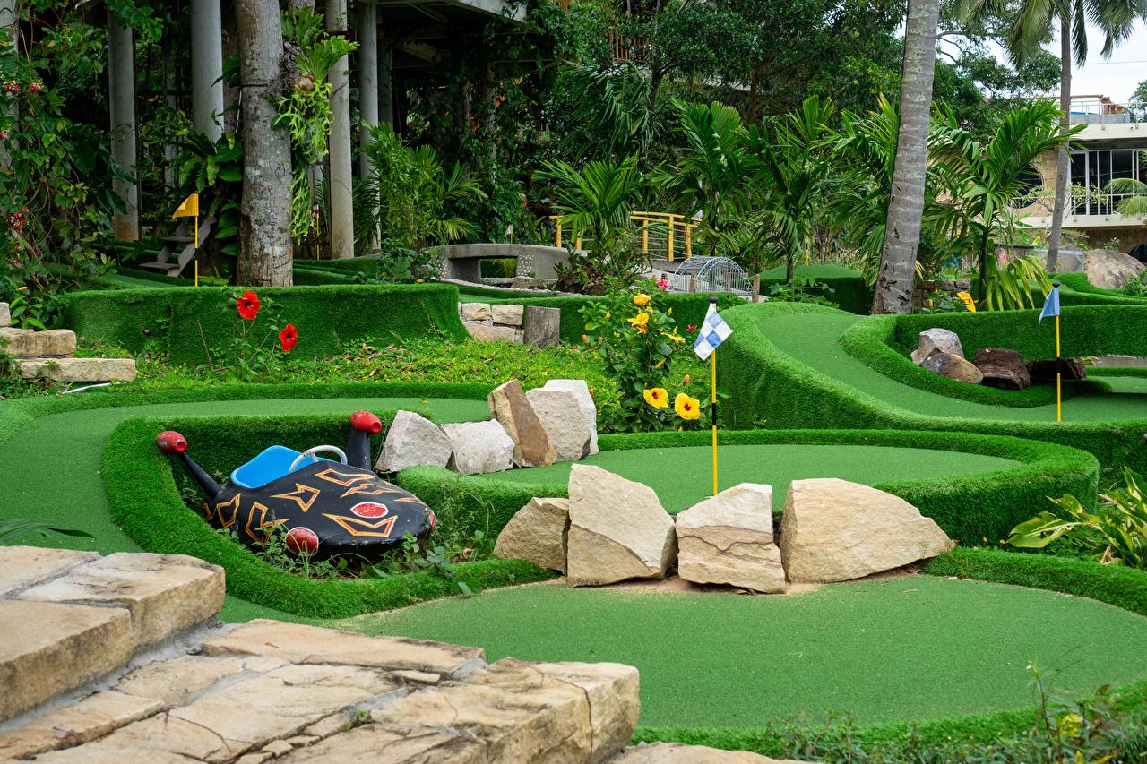 Bilder von Vietnam Insel Phu Quoc Golf Natur Parks Palmengewächse Stein Rasen Strauch Design Park Palmen Steine