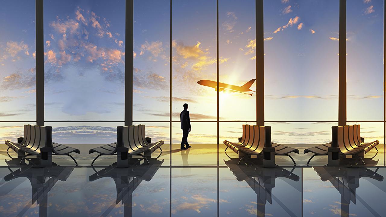壁紙 飛行機 男性 空 旅客機 ベンチ 窓 航空 ダウンロード 写真
