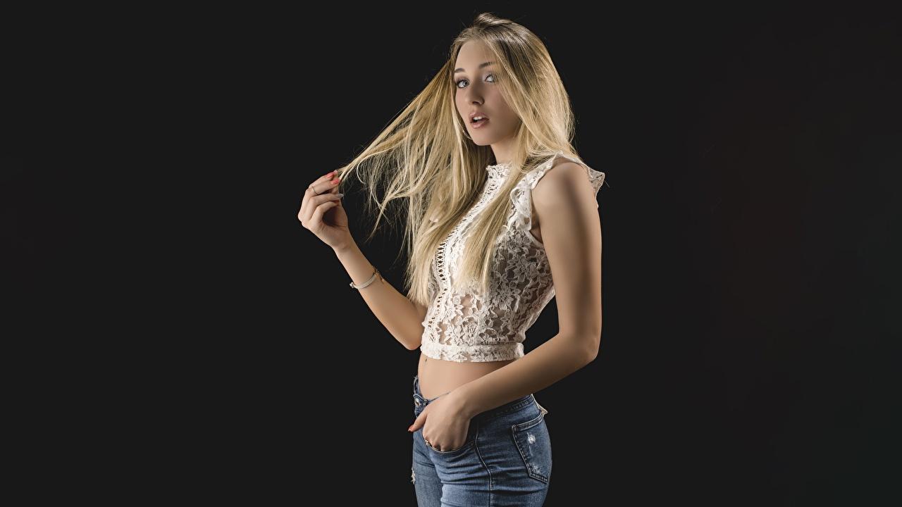 Images Blonde girl Dark Blonde Pose Hair Girls Hands Staring Black background posing female young woman Glance