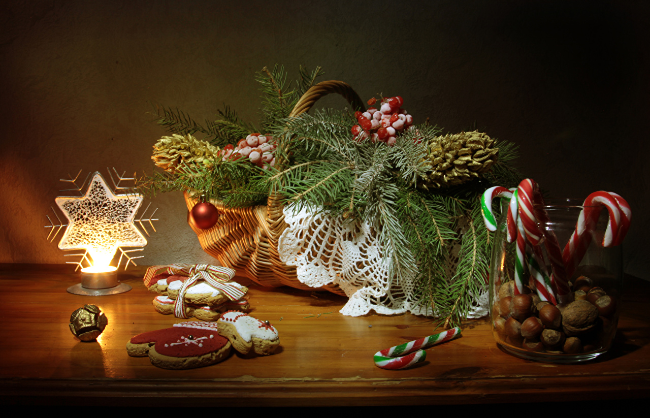 Wallpapers New year Jar Wicker basket Food Balls Table Cookies Candles Branches Nuts Sweets Still-life Design Christmas