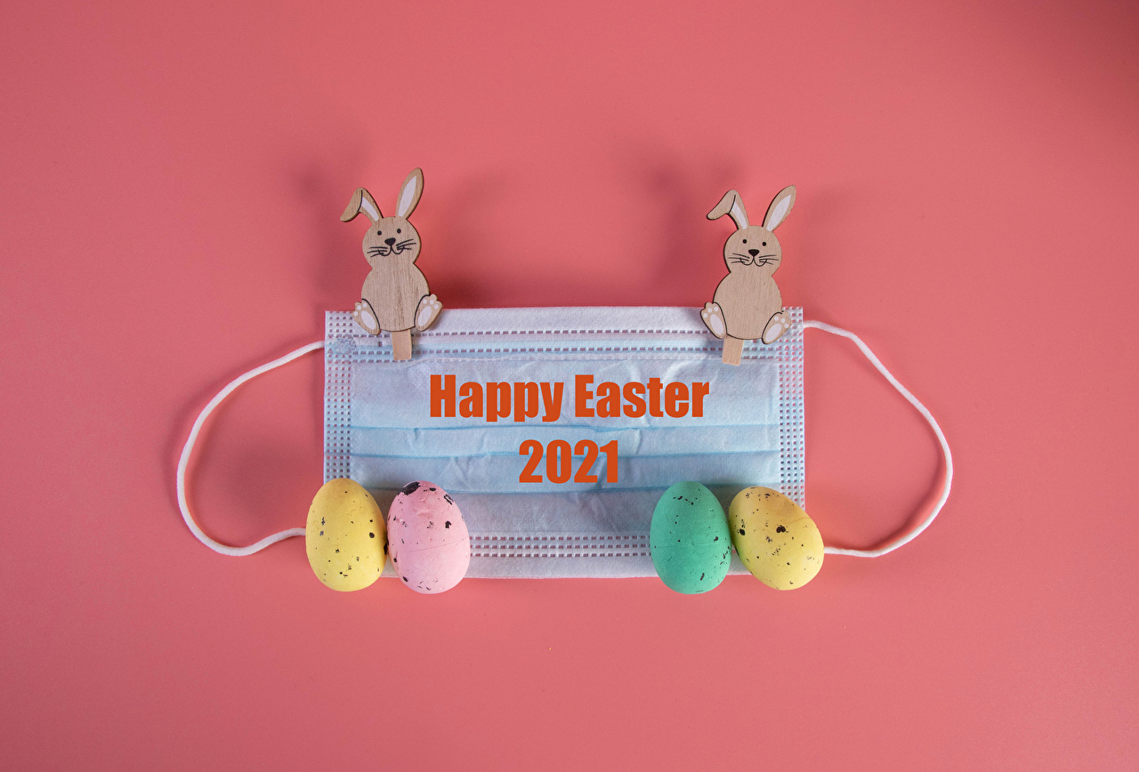 Photos Easter rabbit Coronavirus English Multicolor egg Word - Lettering Food Masks Colored background Rabbits Eggs text lettering