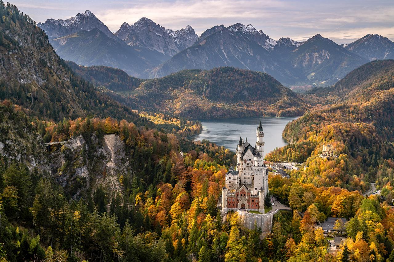 Desktop Wallpapers Bavaria Neuschwanstein Alps Germany Schwansee Nature Castles Mountains Lake landscape photography castle mountain Scenery