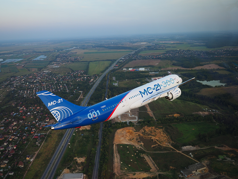 Wallpaper Airplane Passenger Airplanes Russian MC-21-300 Flight Aviation