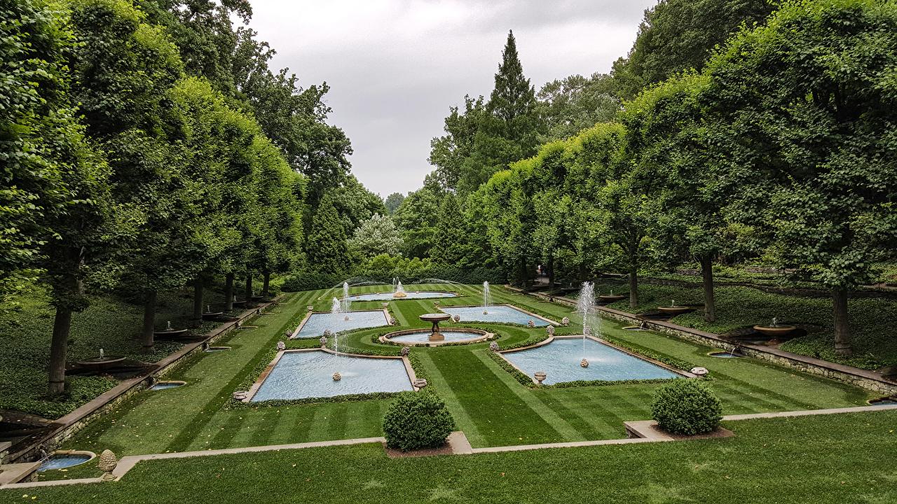 Fotos von Pennsylvania Vereinigte Staaten Springbrunnen Longwood Gardens, Kennett Square Natur Park Rasen Bäume Design USA Parks