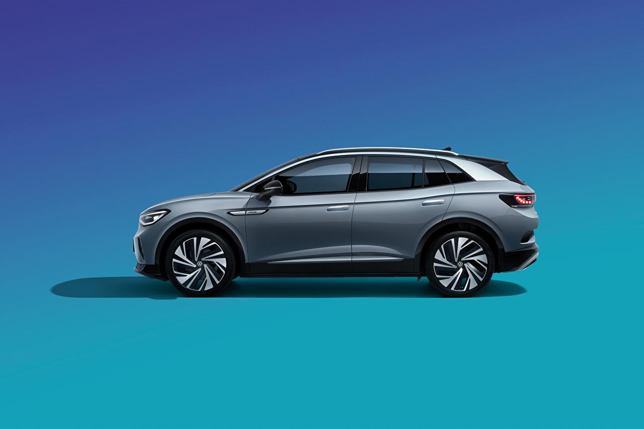 Desktop Hintergrundbilder Volkswagen Crossover ID.4 Crozz Prime, China, 2020 graues Seitlich automobil Metallisch Farbigen hintergrund Softroader Grau graue auto Autos