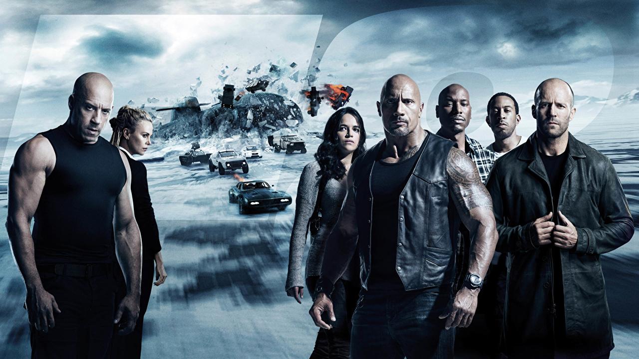 Wallpaper The Fate of the Furious Vin Diesel Jason Statham Dwayne Johnson Michelle Rodriguez Man Negroid Movies Celebrities Fast & Furious 8 Men film