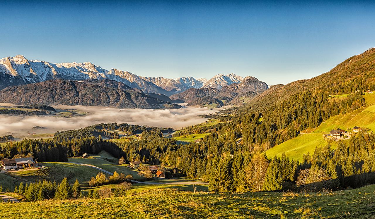 Photos Alps Austria Fog Autumn Spruce Nature mountain landscape photography Building Mountains Scenery Houses