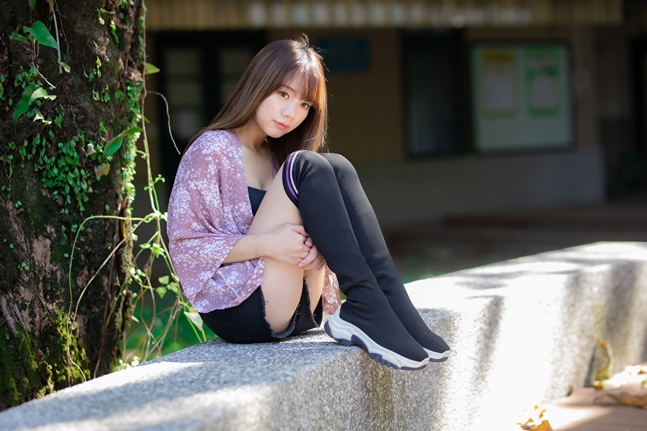 Photo Knee highs posing young woman Legs Asiatic Sitting Glance Pose Girls female Asian sit Staring