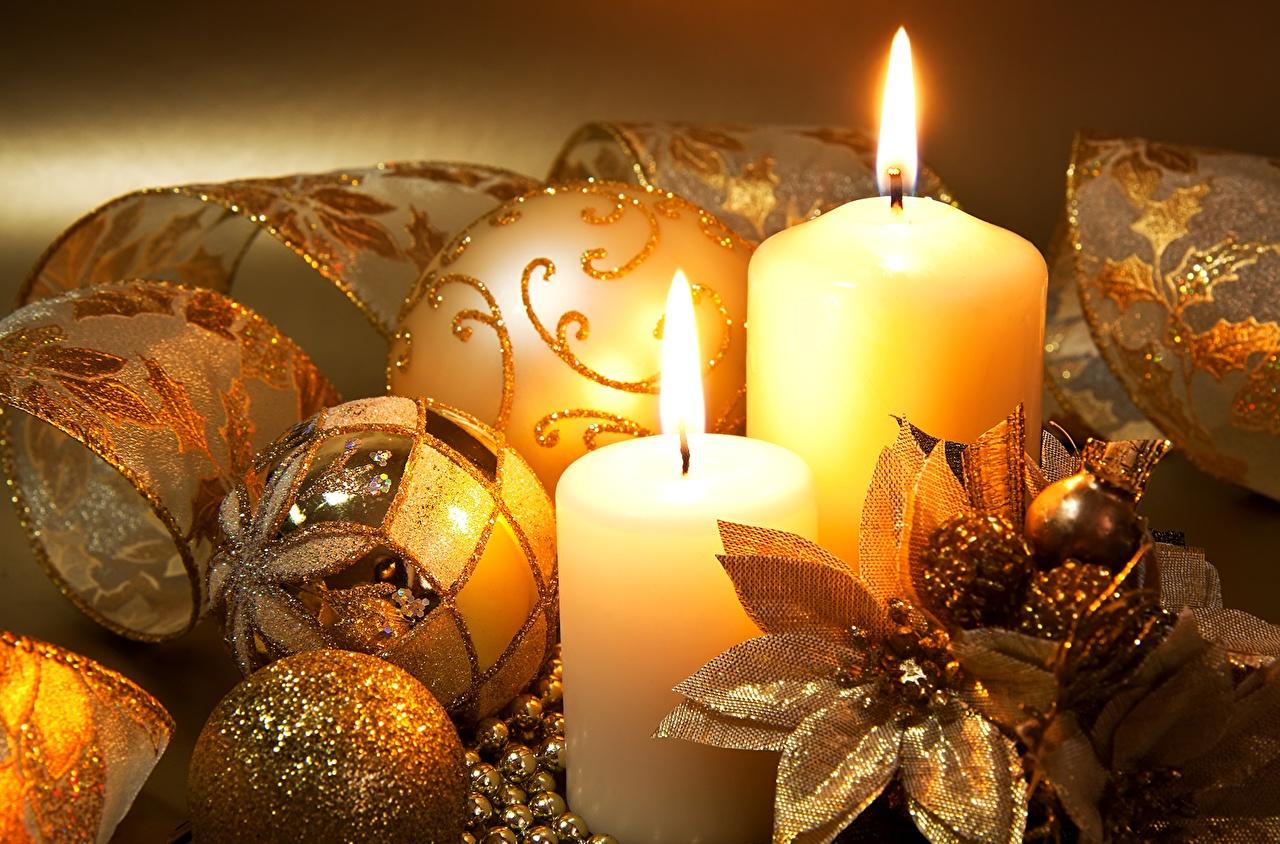 Photo Christmas Gold color Balls Candles Holidays