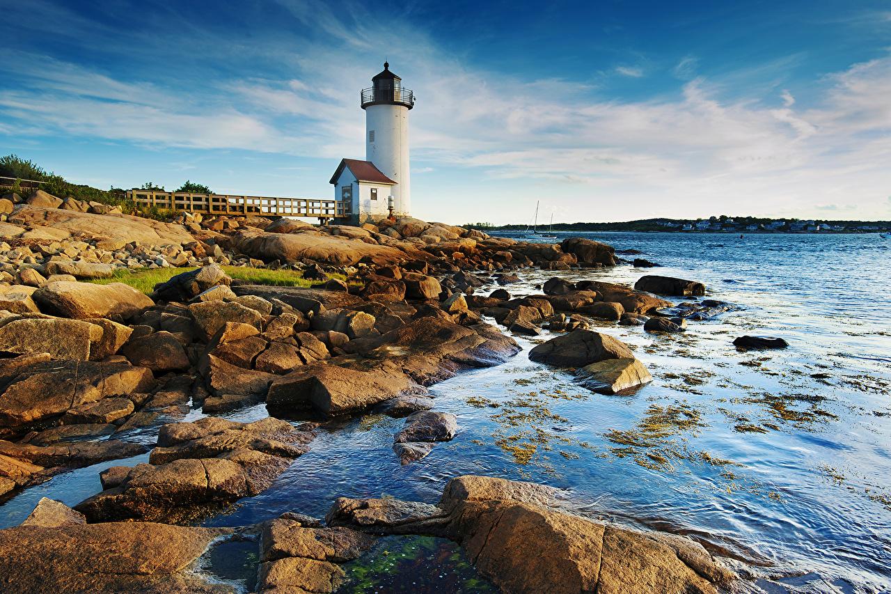 Photos Nature Lighthouses Sky Coast stone Stones