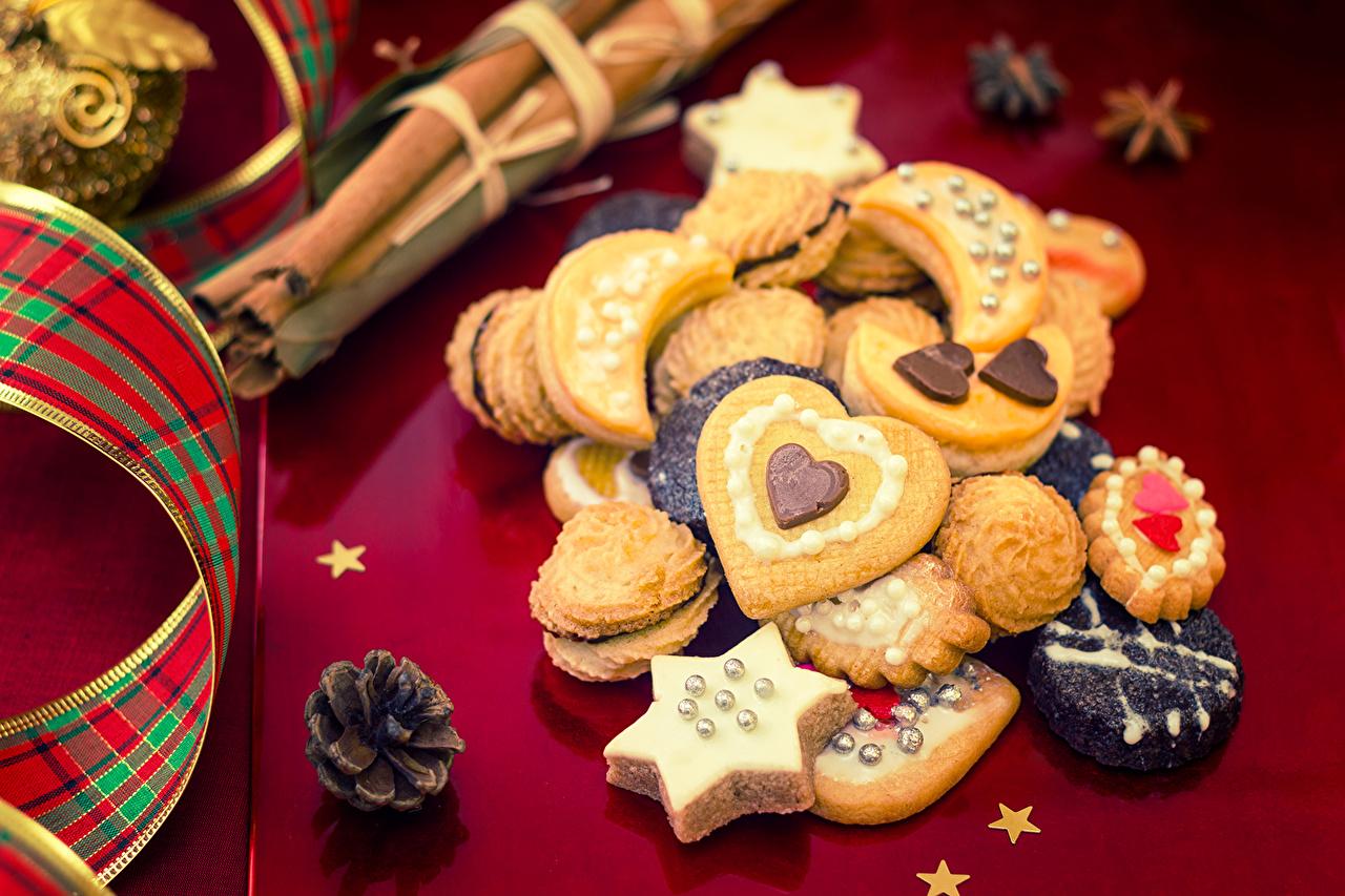 壁紙 クッキー シナモン デザイン 松かさ ハート 食品