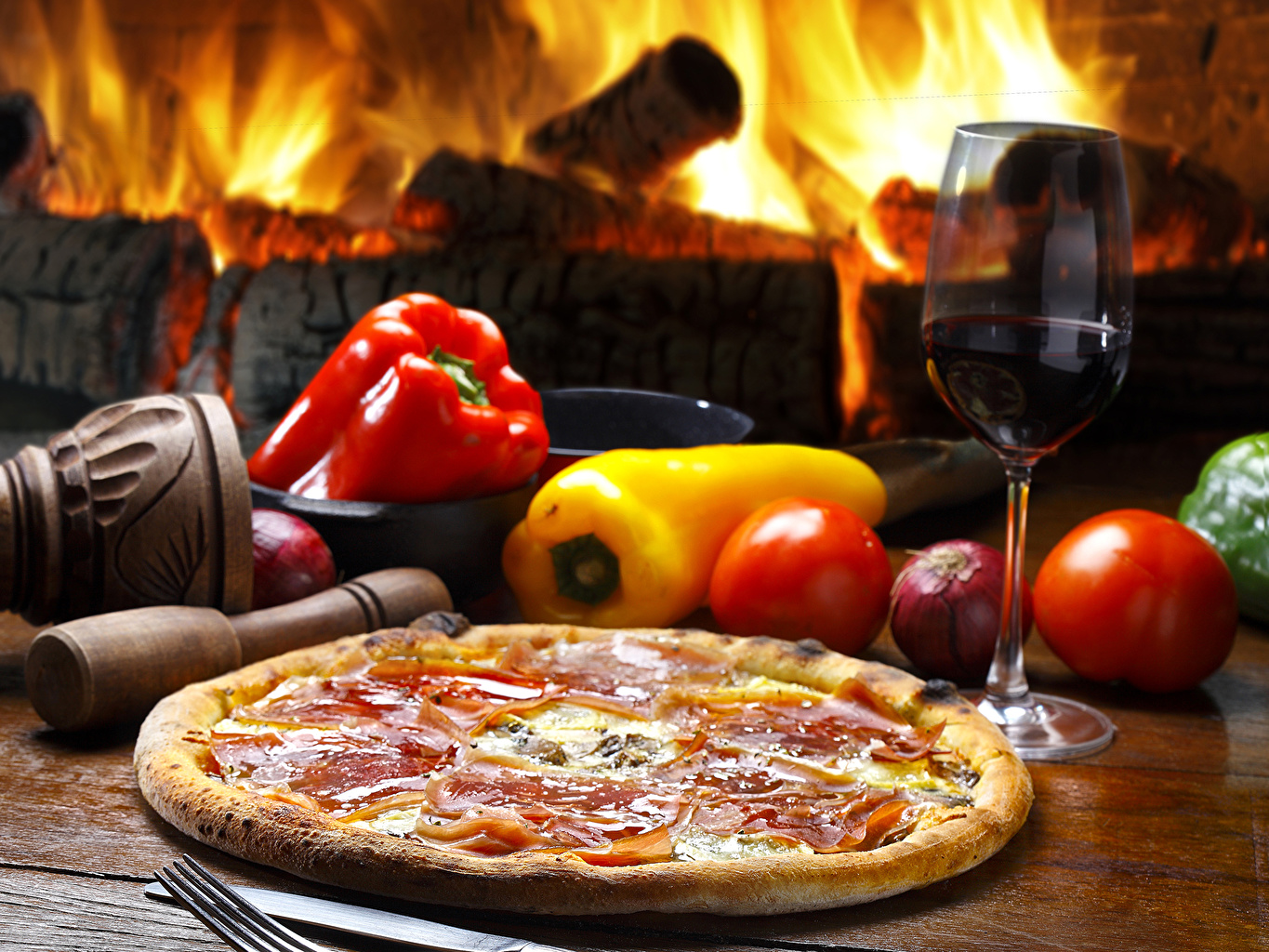 Pictures Wine Pizza Tomatoes Fast food Food Pepper Stemware