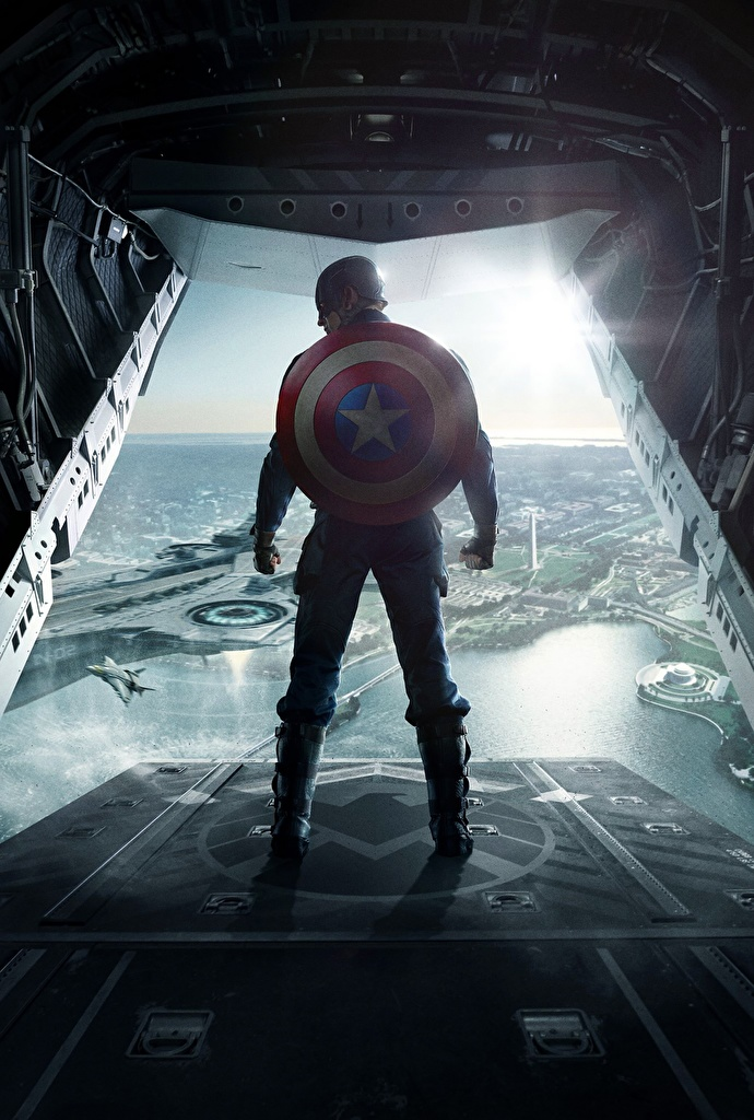 Image Captain America: The Winter Soldier Shield Heroes comics Captain America hero Steve Rogers Movies Back view  for Mobile phone superheroes film