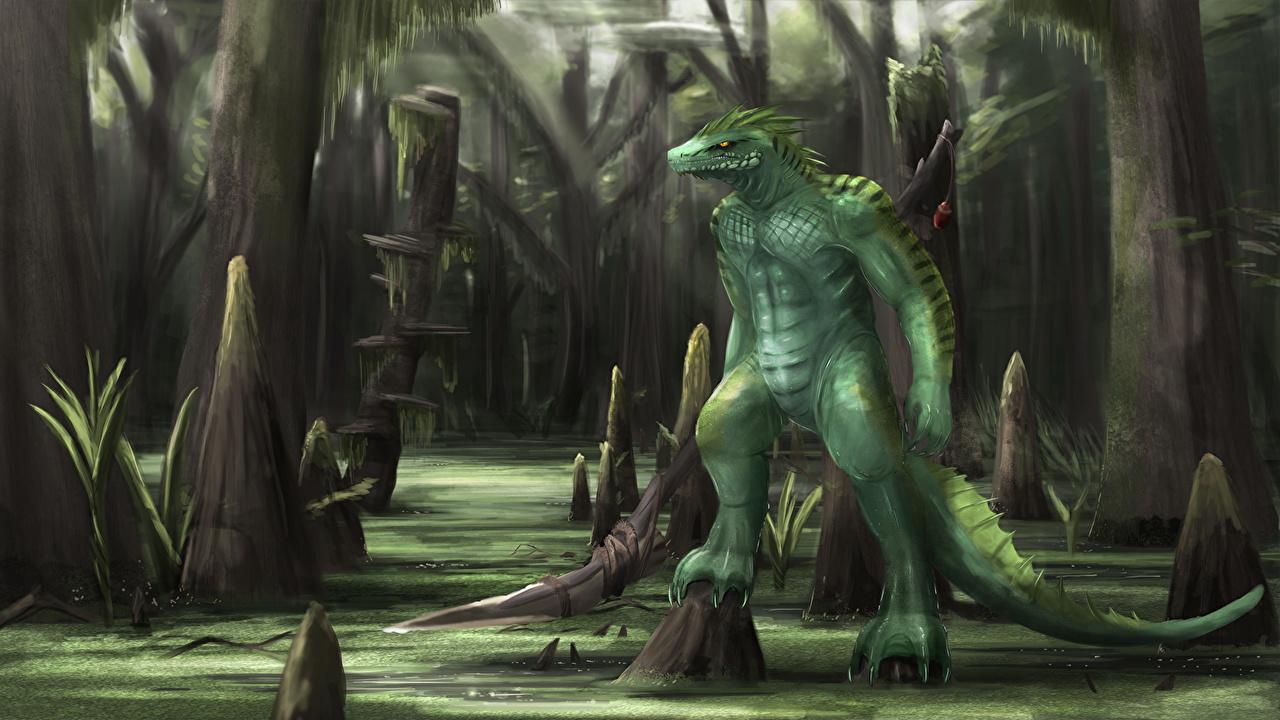 Bilder von Ungetüm Fantasy Sumpf Bäume Monster Ungeheuer
